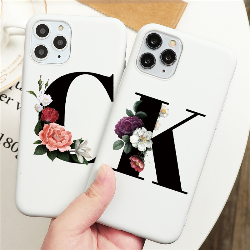 Alphabet Letter Flower Silicone Case For Samsung Galaxy A51 A71 A50 A70 A40 A01 A10 A20 A30 A20E A30S A50S Soft TPU Back Cover