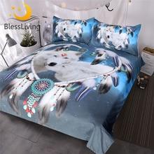 BlessLiving Wolves Couple Bedding Set 3D Print White Wolf Duvet Cover Tribal Animal Galaxy Bed Set