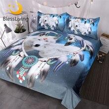 Blesslivingオオカミカップル寝具セット3Dプリントホワイトウルフ布団カバー部族動物銀河ベッドセットハートドリームキャッチャーベッドカバー