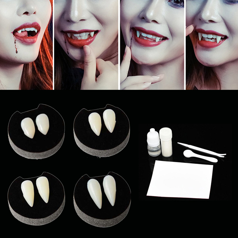 1 Pairs Vampire Teeth Fangs Dentures Props Halloween Costume Props False Teeth Solid Glue Denture Adhesive Halloween Party Decor