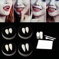 1 пара клыков-клыков для вампира, реквизит для костюма на Хэллоуин, клей для искусственных зубов, вечерние клеи для Хэллоуина