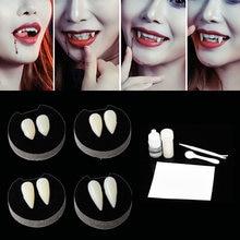 1 pares dentes de vampiro dentes dentes dentaduras adereços halloween traje adereços dentes falsos cola sólida dentadura adesivo halloween party decoração
