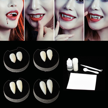 1 Pairs Vampire Teeth Fangs Dentures Props Halloween Costume False Solid Glue Denture Adhesive Party Decor - discount item  25% OFF Festive & Party Supplies