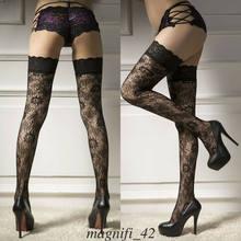 Mulheres de alta qualidade sexy preto puro laço topo ficar até a coxa alta hold-ups meias elásticas impressão floral meia-calça