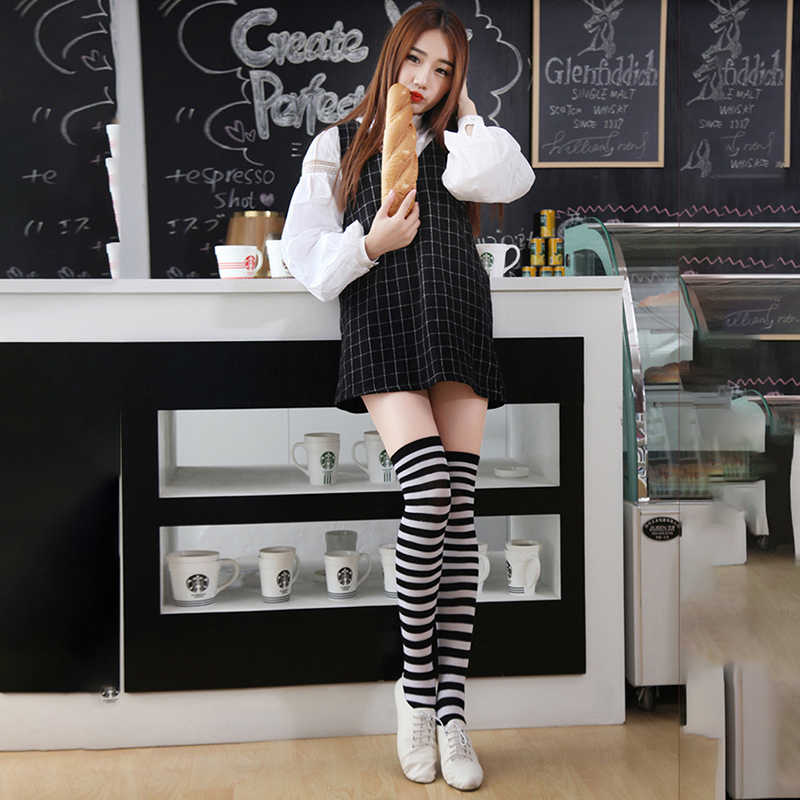 Women Girls Over Knee Stockings Long Stripe Printed Thigh High Striped Stockings Colors Sweet Cute Plus Size Overknee Stockings