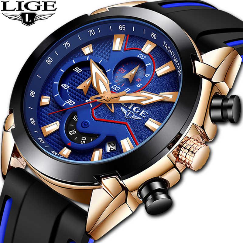 LIGE mężczyźni Sport zegar Dropshipping Luminous wodoodporny zegarek kwarcowy mężczyźni wielofunkcyjny chronograf zegarek na rękę cena hurtowa