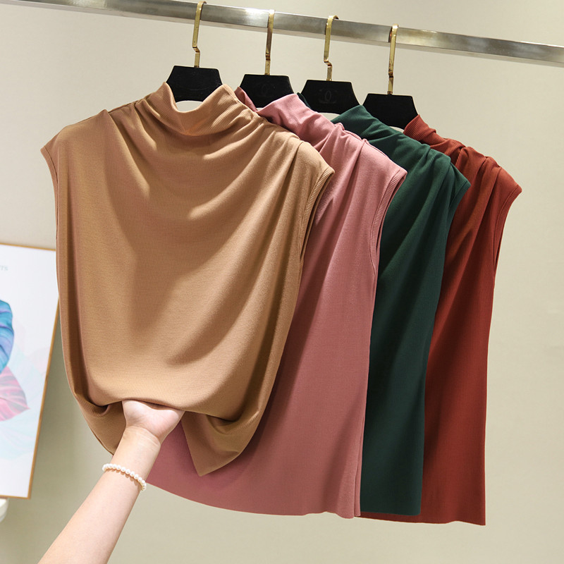 [EAM] Women 8 Colors Brief Pleated Khaki Pleated T-shirt New Turtleneck Sleeveless  Fashion Tide  Spring Summer 2020 1X854 2