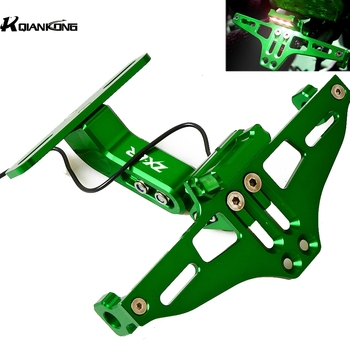 For KAWASAKI ZX6R ZX-6R 2000 2001 2002 2003 2005 2006 2007 Motorcycle Adjustable Bracket Licence Plate Holder Frame Number Plate motorcycle for kawasaki zx12r 2000 2001 2002 2003 2004 2005 zx 12r zx 12r motorcycle aluminum gear shift lever pedal