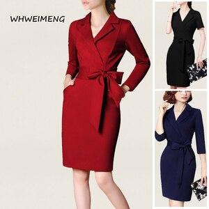Image 1 - 日のドレス 2020 女性の事務服夏ドレス女性のためのフォーマルウェアvネックエレガントなローブ作業ドレスvestidos