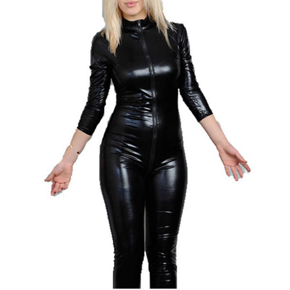 Schwarz Vinyl Overall Wetlook Catsuit PU Faux Leder Overall für Frauen Zentai Latex Catsuit Zip zu Gabelung Pole Dance Kostüm