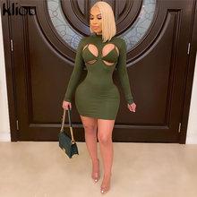 Kliou Lace Up Hollow Out Sexy Bikini Dress donna aderente collo finto reggiseno a righe cerniera Solid Skinny Party Clubwear Mini abiti