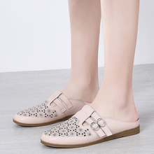 Flats Women Korean-Style Genuine-Leather Slip-On Comfort Pink White Casual Summer Beige