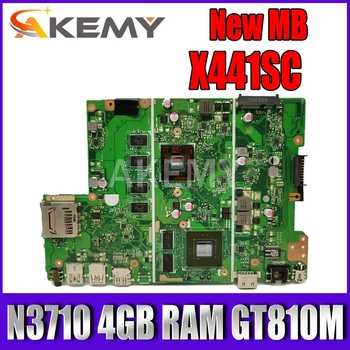 X441SC mainboard For Asus X441SC X441SA X441S laptop motherboard N3710 4GB RAM GT810M tested 100% work original akemy x200la i3 4010 4gb ram mainboard rev2 1 for asus f200la f200l x200l x200la laptop motherboard 100