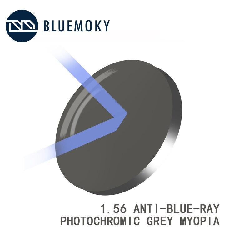 BLUEMOKY 1.56/1.61/1.67 lentilles de Prescription Cr-39 myopie optique lentilles d'hyperopie Anti-Blue-Ray photochromique ensemble seulement