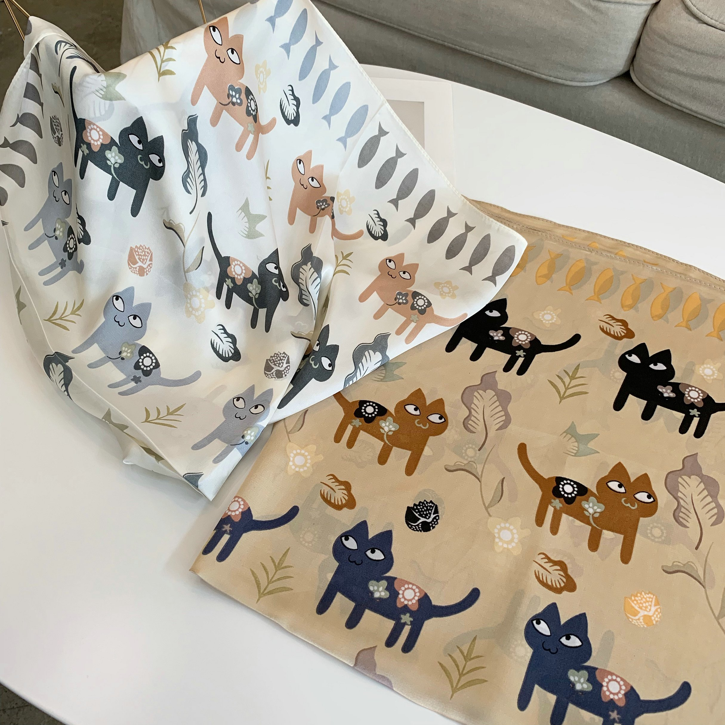 70*70 Printing Cat Small Square Scarf Small Silk Like Scarf Women's Thin Scarf Fashion Scarf