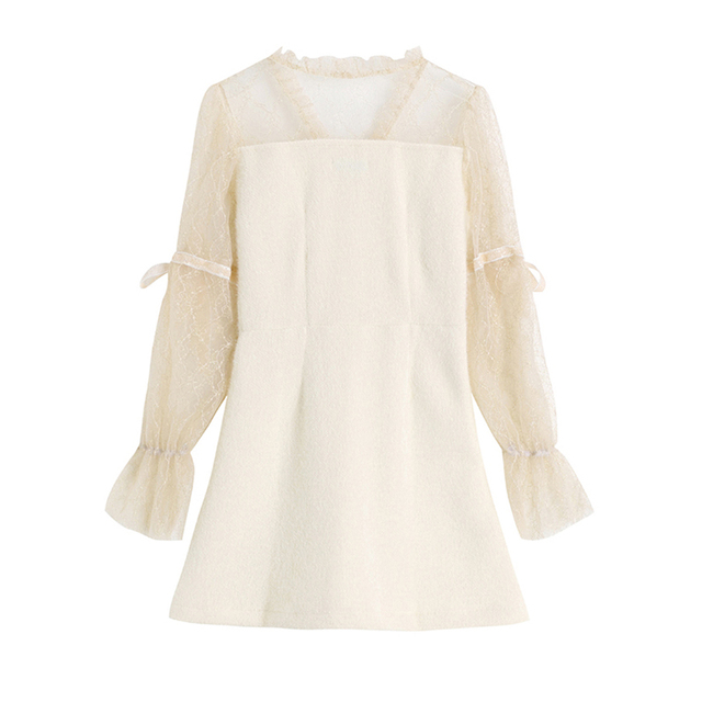 Long Sleeve V Neck Elegant Dress 2020 Spring Autumn Lace Patchwork Vintage Casual Korean Chiffon slim party dress Female 2