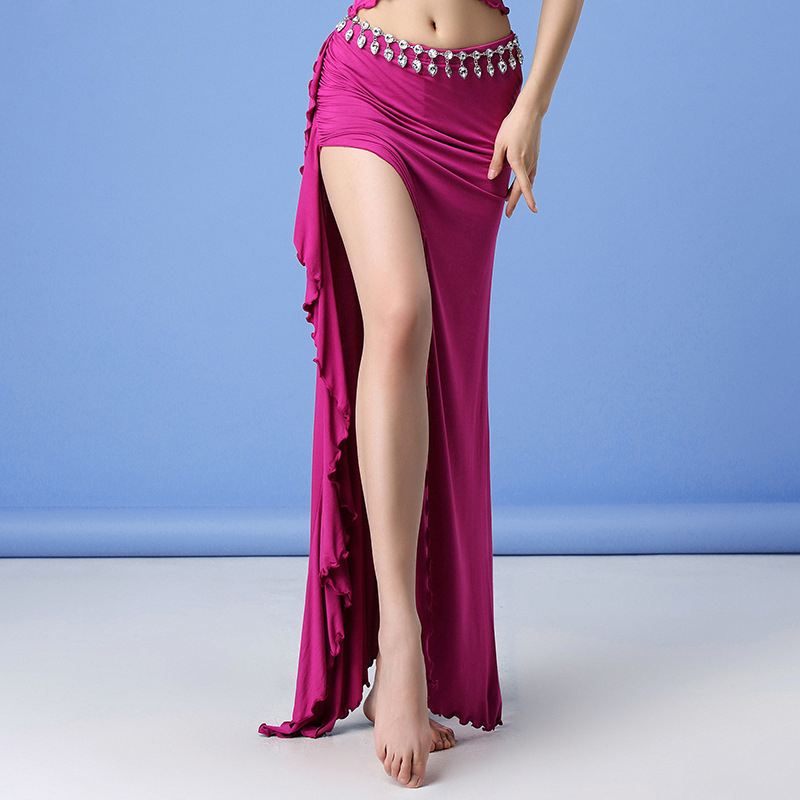 Cheap Women Dance Wear Long Maxi Skirts Side Slit Modal Belly Dance Skirt With Ruffles