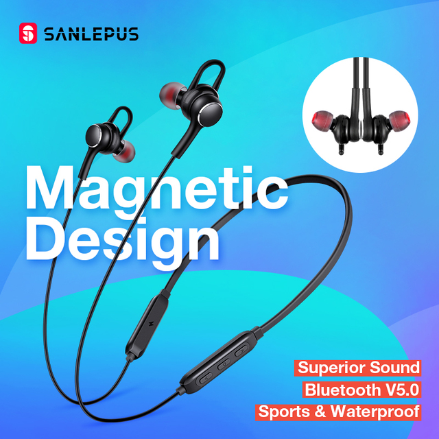 SANLEPUS Earphone Wireless Headphones Bluetooth Earphones Sport Hifi Headset Neckband Earbuds With Microphone For Xiaomi Android