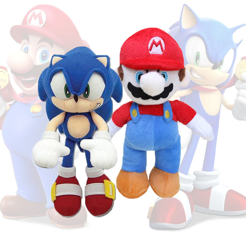 Set Of 2 25cm Super Sonic The Hedgehog And Super Mario Plush Toy Sonic Toys Sonic Shadow Knuckles Tails Cute Soft Stuffed Dolls Aliexpress
