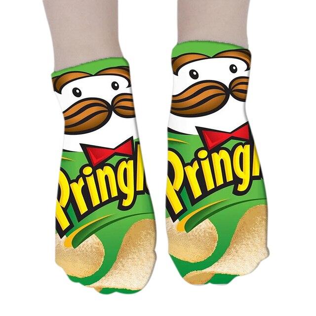 New Women Funny cartoon Socks Low Ankle 3D Printed Short Socks for Women Men Invisible Boat Socks Summer
