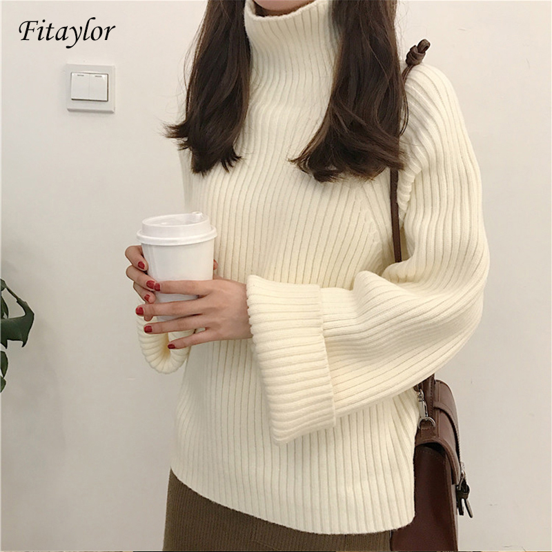Fitaylor New Women Winter Thick Turtleneck Sweater Casual Female Loose Fit Knitted Pullovers Solid Color Warm Knitwear Tops