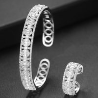 GODKI Trendy Luxury 2PCS Stackable Bangle Ring Set For Women Wedding AAA Cubic Zircon Dubai Silver Bracelet Party Jewelry 2019