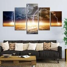 5 шт настенные картины на холсте молния пейзаж темные облака