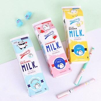 Kawaii Cartoon Milk Bottle Pencil Case Creative Large Capacity PU Pouch Organizer Girl Child Gift Office School Supplies
