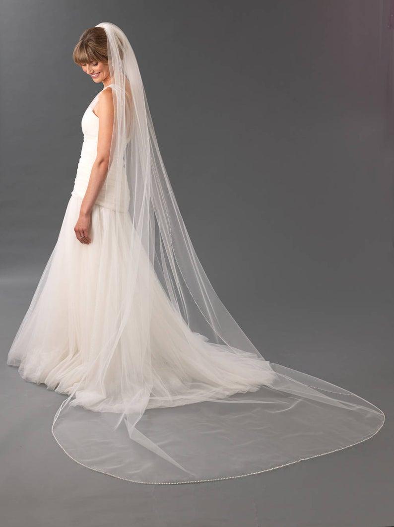 Cathedral Crystal Bridal Wedding Veil, Delicate Pearl Edge Wedding Veils Fingertip, Floor Chapel  long bridal veil with comb