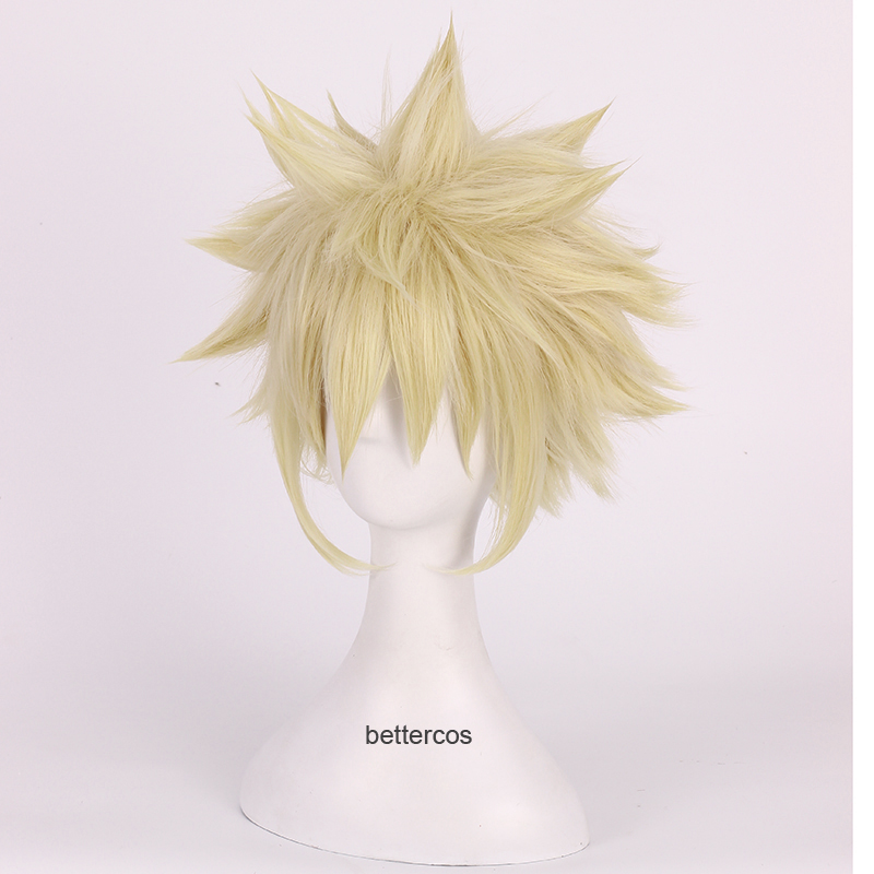 Top Quality <font><b>My</b></font> Bokuno <font><b>Hero</b></font> <font><b>Academia</b></font> Wigs Bakugou Katsuki <font><b>Bakugo</b></font> Wig Short Linen Blonde Heat Resistant Synthetic Hair <font><b>Cosplay</b></font> Wig image