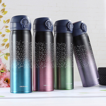 Thermos Mug Vacuum Flask Coffee For Tea Stainless Steel Cup Portable Stars Color Gradient Bottle Travel Thermal Mug 350ml/500ml
