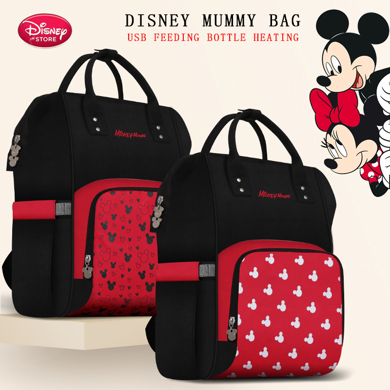 Disney Red Mickey Mommy Bag Baby Care Diaper Backpack Large Capacity Mother Multi-function Pregnant Women