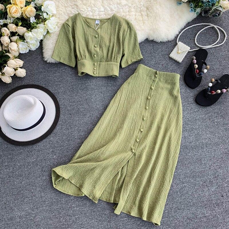 FTLZZ Summer Two Piece Set New Women V Neck Short Sleeve Tunic Waist Crop Tops + High Waist Long Skirt Suits