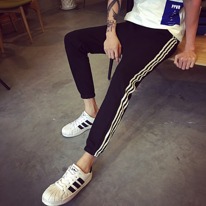 Men's Trousers Three Bars Large Size MEN'S Casual Pants MEN'S Sports Pants Korean-style Sweatpants Slim Fit Knit Harem Pants
