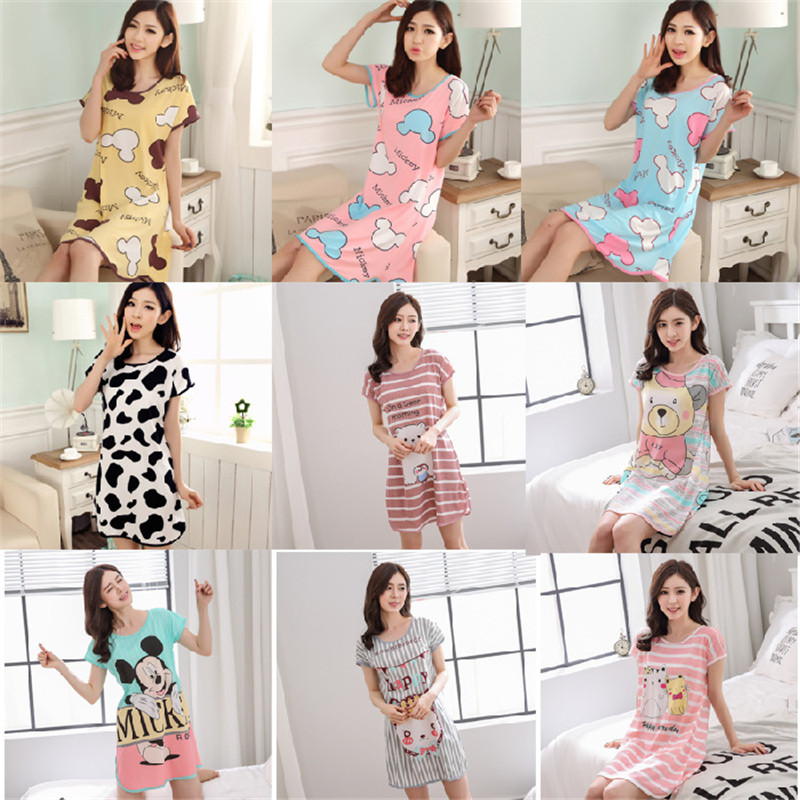 10 Styles Women's Cartoon Printing Sleepwear Milk Silk Home Dresses Nightgown Summer Short Sleeve Nightdress Female Sleepshirts
