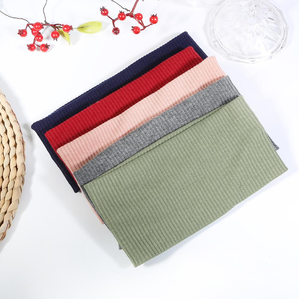 Wholesale Lady's Ribbed Cotton Headband Summer Knitted Solid Color Hair Band For Girls Flat Elastic Stretchy Hair Accessories