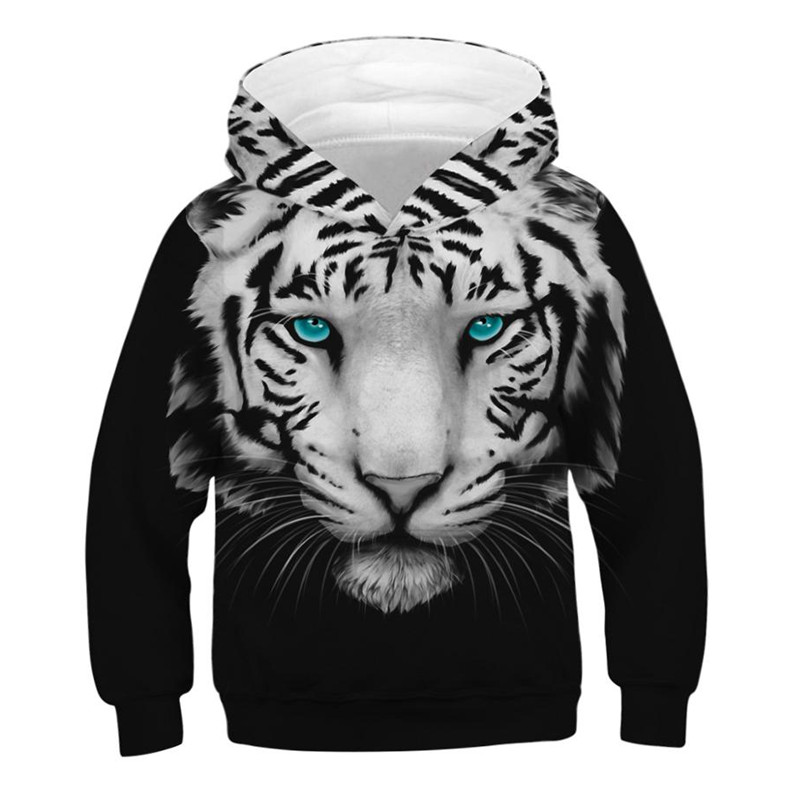 Spring Autumn Fashion Kids Hoodies Tiger 3D Printed Teen Boys Girls Oversized Hoodie Sweatshirts Children Pullovers Tops