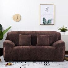Dikke Pluche Fabirc Sofa Cover Set 1/2/3/4 Zits Elastische Couch Cover Sofa Covers Voor Woonkamer hoes Stoel Sofa Handdoek 1Pc