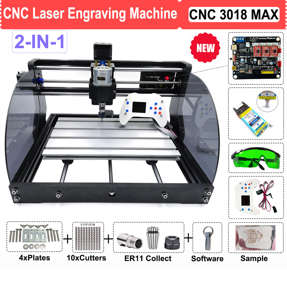 DIY CNC 3018 PRO MAX Laser Router Engraver Machine With 500MW 2500MW 3500MW 5500MW 15W Module