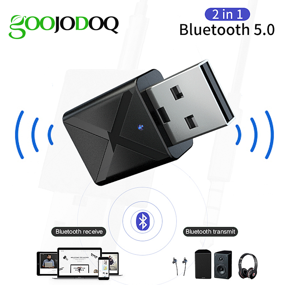 2 In 1 Bluetooth 5.0 Adapter Receiver Transmitter Mini 3.5mm AUX Stereo Bluetooth Adapter For Car Home TV Heaphone Speaker