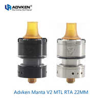 Original Advken Manta V2 MTL RTA 22MM & 2ml kapazität PEI Tropfspitze Verdampfer vape Zerstäuber für 510 e cig box mod vs Sirene V2 RTA