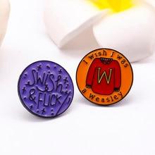 Broche-harry fãs magia mundo feitiço swish & flick eu gostaria de ser um weasley camisola pino esmalte emblema fãs mágicos acessórios de festa