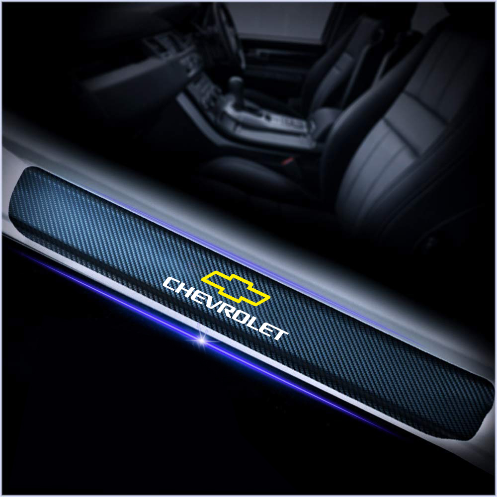 Car Styling 4Pcs 3D Carbon Fiber Threshold Sticker For Chevrolet Captiva Colorado Cruze Spark Malibu Trax Door Pedal Accessories