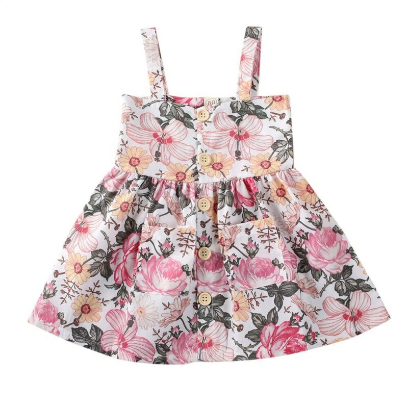 Summer Toddler Kids Girls Dress Outfit 1-5Y Floral Casual Party Dress Sleeveless A-Line Sundress Clothes