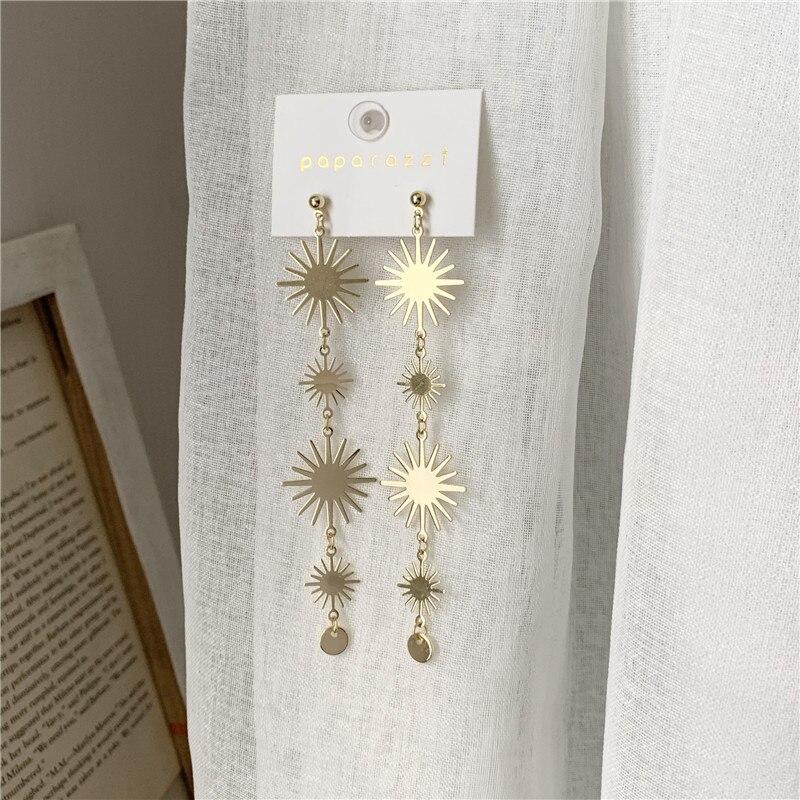 Женские длинные золотые металлические цветочные солнцезащитные корейские серьги падения темперамента Модные Джокер изящный дизайн ювелирные изделия Серьги-подвески      АлиЭкспресс