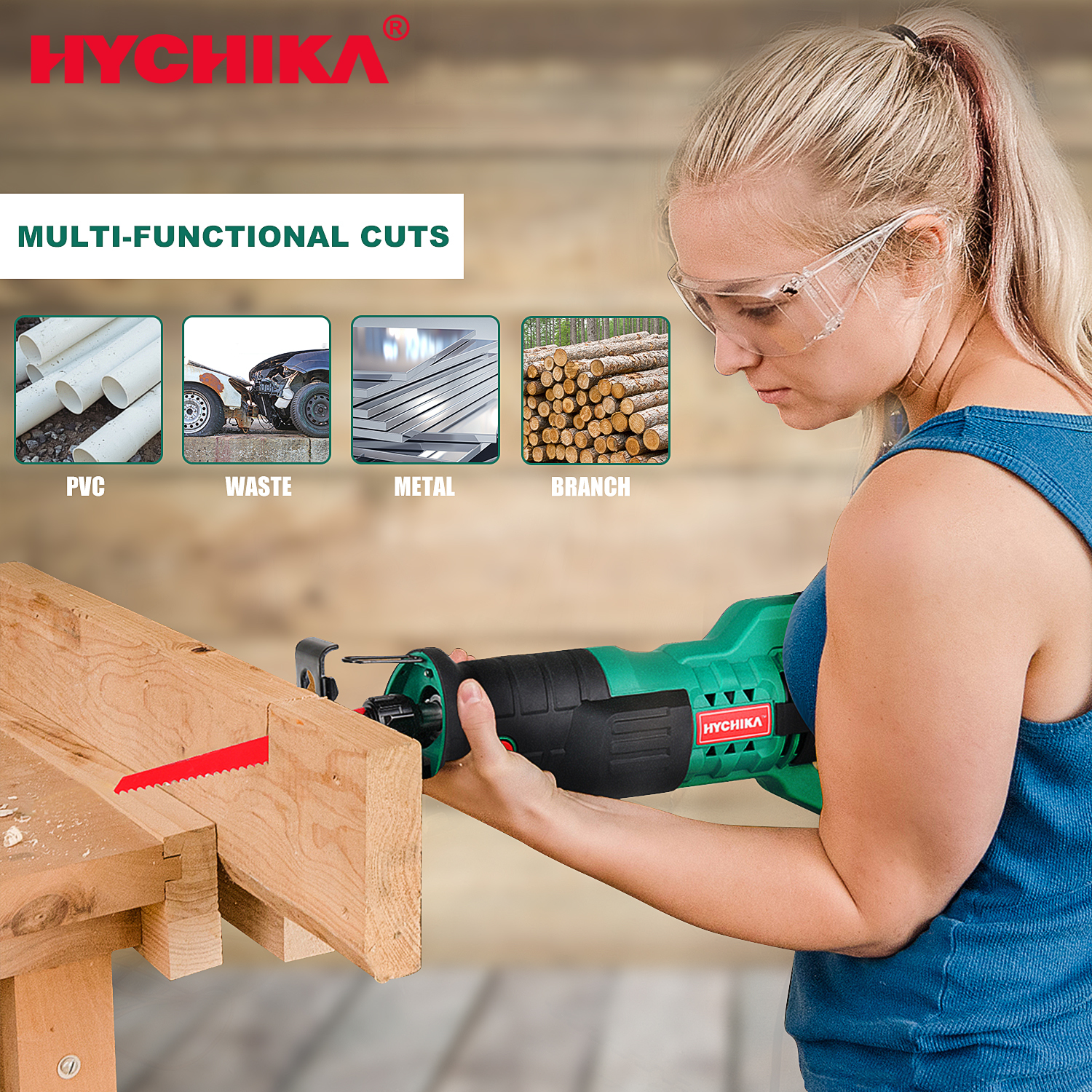 HYCHIKA 18V/20V Electric Saw Reciprocating Saw with Saw Blades Jigsaw Chainsaw Tools for Wood DIY Electric Tools Power tool