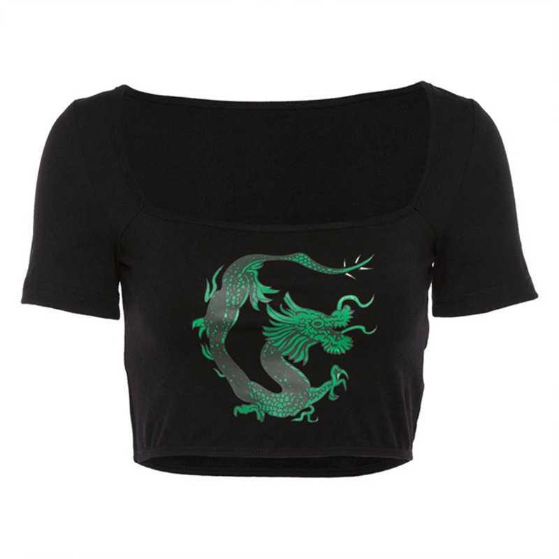 Kaos Wanita Top Naga Cina Cetak Kasual T-shirt Lengan Pendek Kerah Persegi Pusar Top Olahraga Tshirt