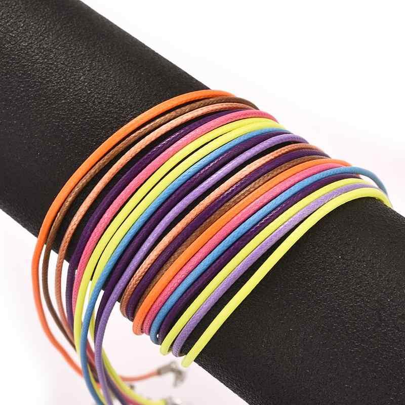 Corda de couro trançado ajustável 45mm, 50 peças, preto, cera, colar, pingente artesanal, lobster, corda, jóias correntes