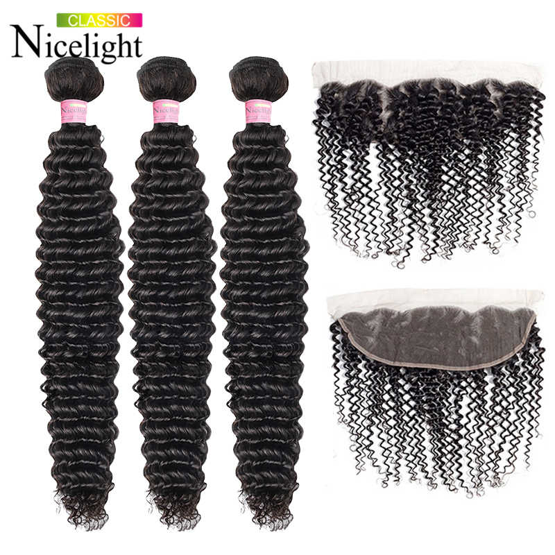 Indian Human Hair Bundles With Frontal Nicelight Three Bundles With Frontal Deep Curly 3 Bundles With Frontal Short Bundles Hair