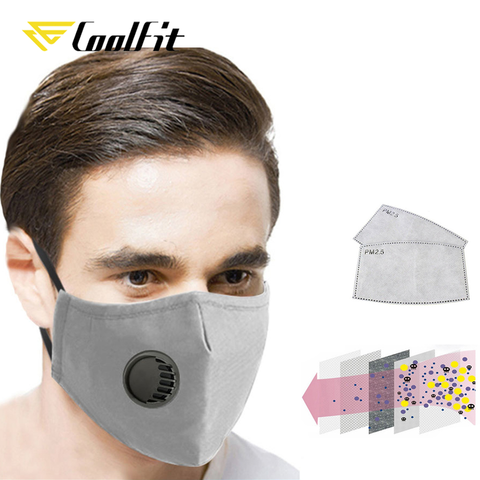 CoolFit Sport Face Mask With Filter Activated Carbon PM 2.5 Anti-Pollution Running Cycling Mask With 2 Filters